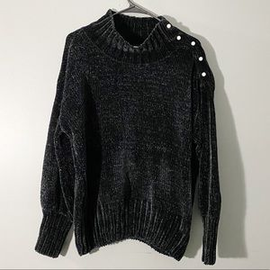 Cynthia rowley chenille sweater black